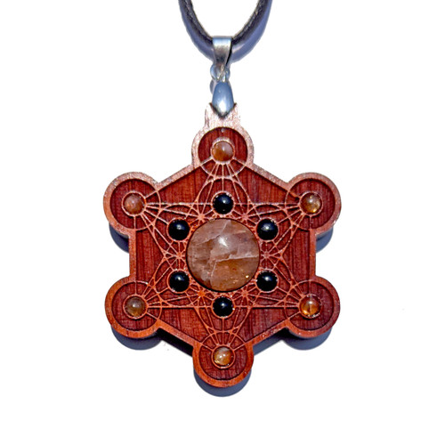 Metatrons Cube Talisman - Sunstone & Black Onyx on Padauk