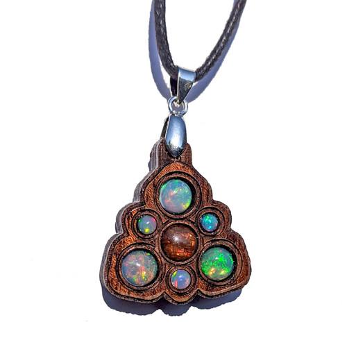 Trinity Mini Grid Talisman - Ammolite & Ethiopian Opal on Walnut
