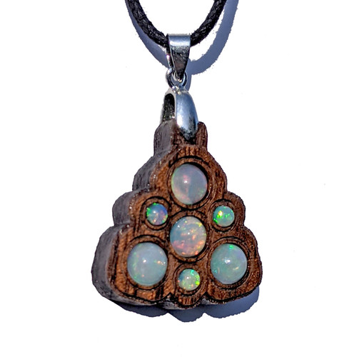 Trinity Mini Grid Talisman - Ethiopian Opal on Walnut