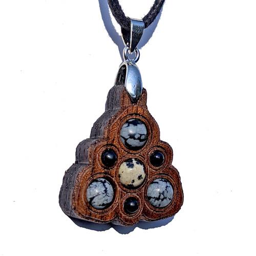 Trinity Mini Grid Talisman - Dalmation Jasper, Snowflake Obsidian & Black Onyx on Walnut