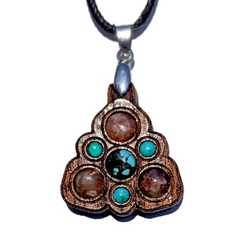 Trinity Mini Grid Talisman - Turquoise & Sunstone on Walnut