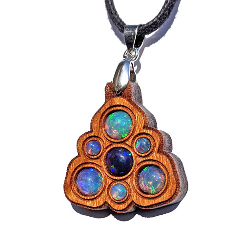 Trinity Mini Grid Talisman - Black Opal & Ethiopian Opal on Cherry