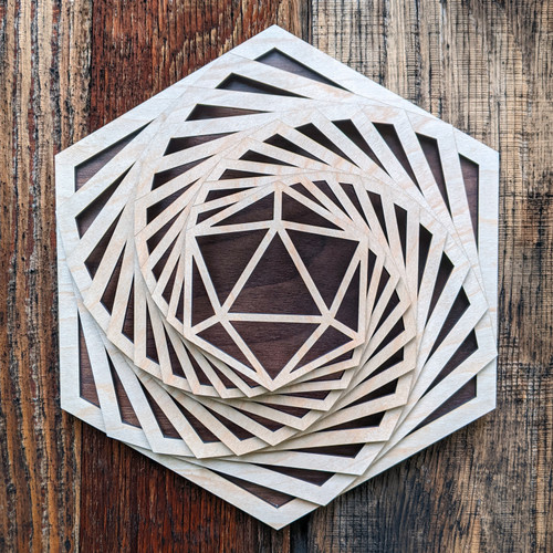 Icosahedron Hexagon Spiral Wall Art