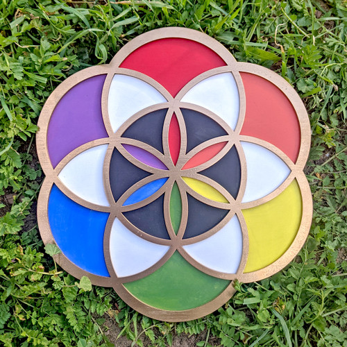 """Rainbow Gold Hand Painted Seed of Life 10"""" Wall Art"""