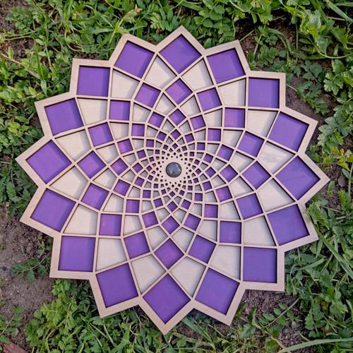 "Hand Painted Purple Labradorite Square Flower 10"" Wall Art"