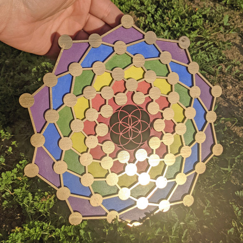 Hand Painted Rainbow Gold 'Atomic Seed' 10 inch Wall Art