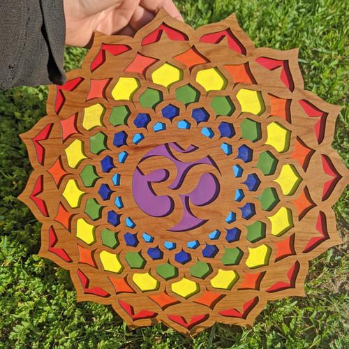 "Hand Painted 'Chakra Wheel' 14"" Inch Wall Art"