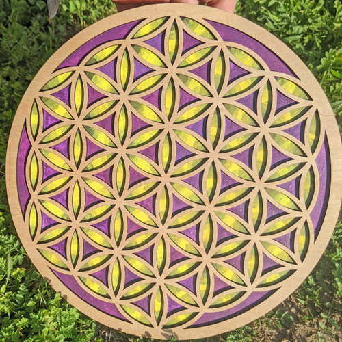 """Hand Painted 'Flower of Life' 10"""" Inch Wall Art"""
