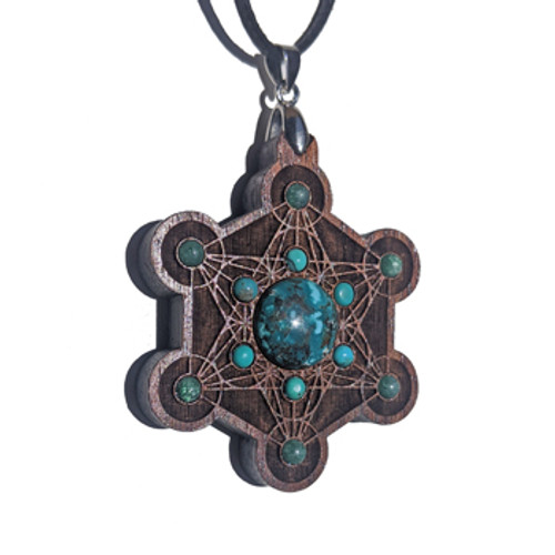 Metatron's Cube Talisman with Turquoise and Moss Agate