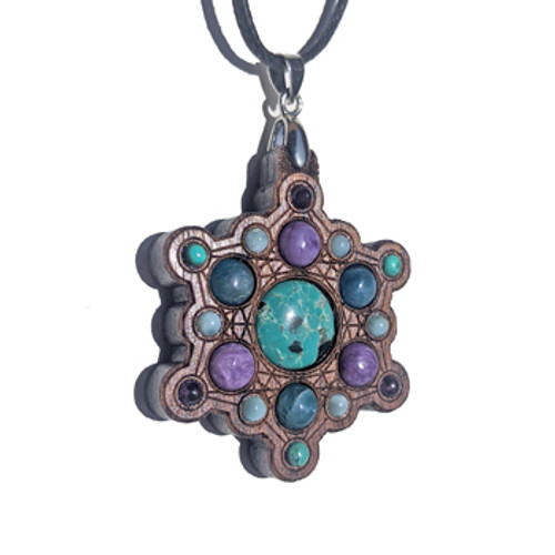 Gemstone Grid Talisman with Turquoise, Charoite, Apatite and Larimar