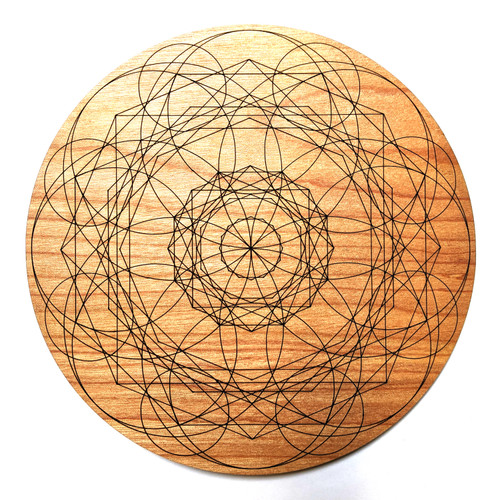 Throat Chakra Crystal Grid - Birch Plywood - Choose your size!