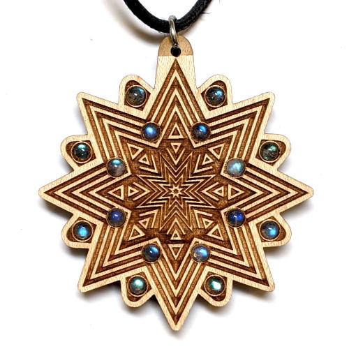 Starburst Echo Hardwood Pendant with White Moonstone, Rainbow Moonstone and Sunstone