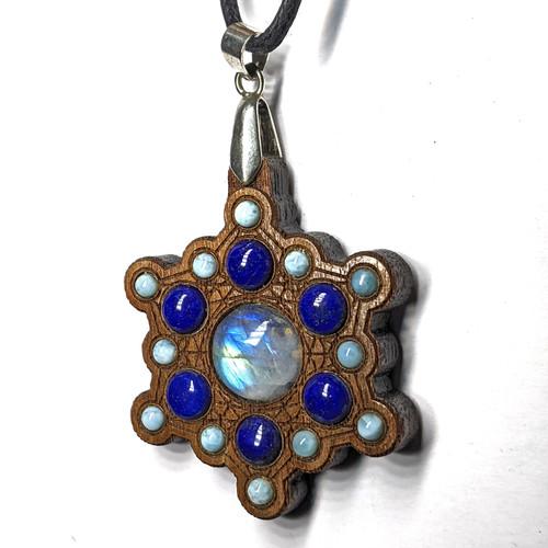 Snowflake Gemstone Grid Mandala - Rainbow Moonstone, Lapis Lazuli and Larimar on Walnut