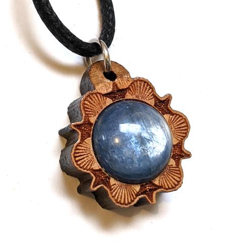 SALE Micro Mermaid Mandala Pendant with 12mm Blue Kyanite in Walnut