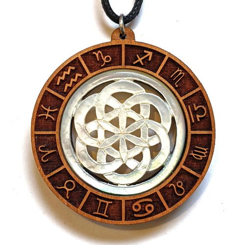 SALE Zodiac Mandala Pendant with Mother of Pearl Seed of Life Carving in Cherry
