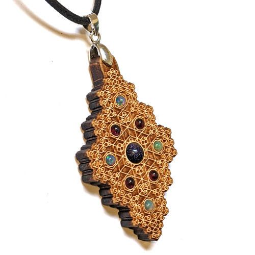 SALE Hexagon Diamond Pendant with Blue Goldstone, Ethiopian Opal and Garnet in Maple