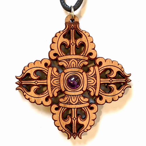 SALE Vajra Pendant with 6mm Amethyst in Cherry