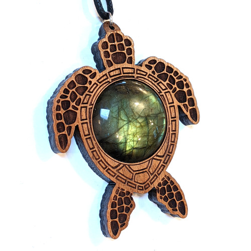 Copy of SALE Sacred Turtle Pendant with 30mm Labradorite in Walnut