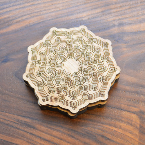 Nine Sided Lotus Fractal Drink Coasters