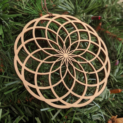 Tube Torus Holiday Ornament - Sacred Geometry - Laser Cut Wood
