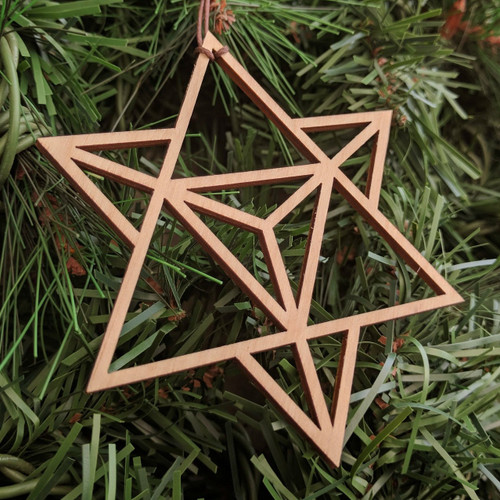 Star Tetrahedron Holiday Ornament - Sacred Geometry - Laser Cut Wood