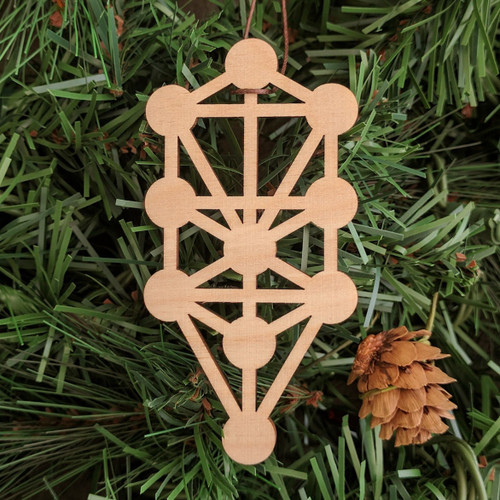 Tree of Life Holiday Ornament - Sacred Geometry - Laser Cut Wood