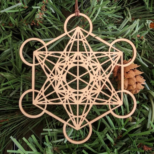 Metatrons Cube Holiday Ornament - Sacred Geometry - Laser Cut Wood