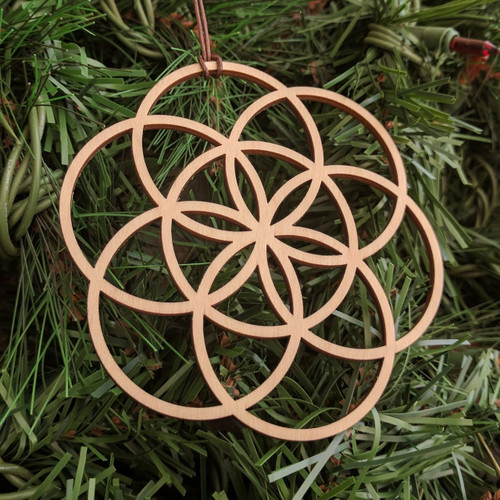 Seed of Life Holiday Ornament - Sacred Geometry - Laser Cut Wood