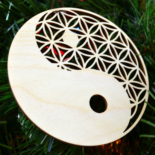 Yin Yang Flower of Life Ornament - Sacred Geometry - Laser Cut Wood