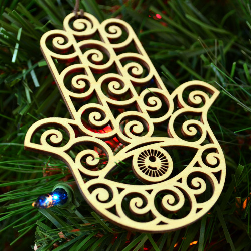 Hamsa Ornament - Sacred Geometry - Laser Cut Wood