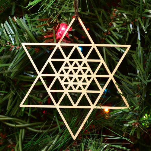 6 Sided Star Fractal Ornament - Sacred Geometry - Laser Cut Wood
