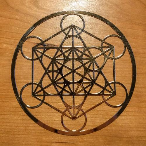 "Metatron's Cube - 18 karat Gold Plated Crystal Grid - 4"""