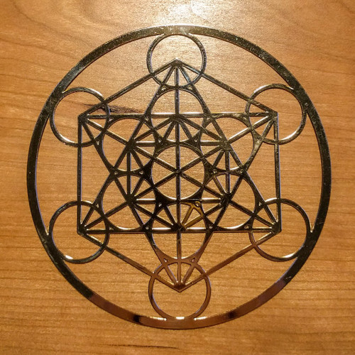 Metatrons Cube - 18 karat Gold Plated Crystal Grid - 4""