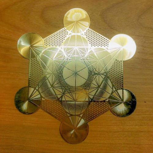 "Metatron's Cube (Detailed) - 18 karat Gold Plated Crystal Grid - 4"""
