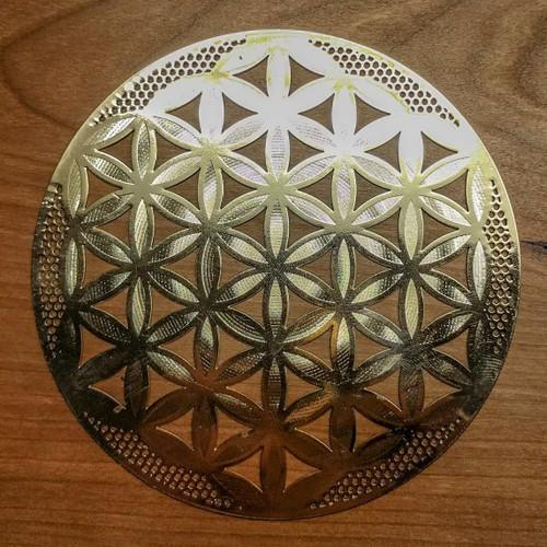 "Flower of Life (Detailed) - 18 karat Gold-Plated Crystal Grid - 4"""