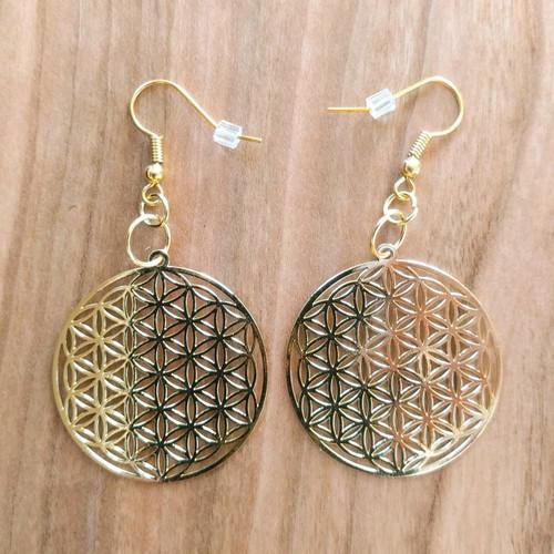 Flower of Life Earrings - 18 Karat Gold Plated
