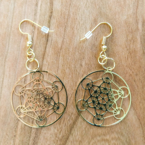 Metatrons Cube Earrings - 18 Karat Gold Plated