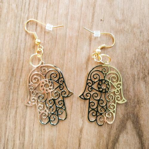 Hamsa Earrings - 18 Karat Gold Plated