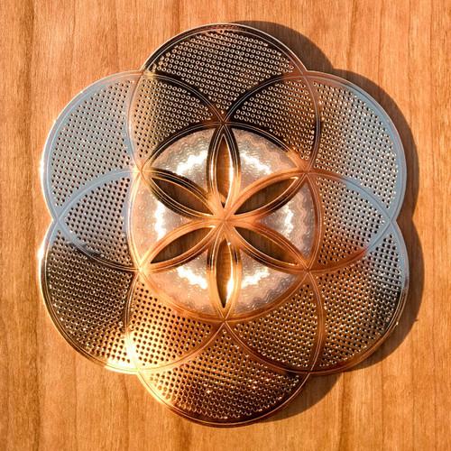 "Seed Of Life  - 18 karat Gold Plated Crystal Grid - 4"""