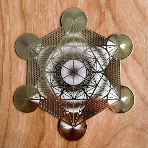 "Metatrons Cube (Detailed) - 18 karat Gold Plated Crystal Grid - 6"""