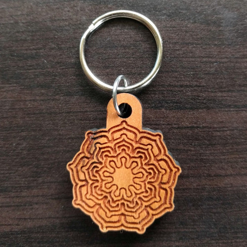 Nine Sided Lotus Fractal Hardwood Keychain