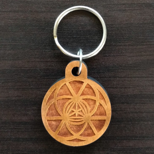 Triangular Energy Field Hardwood Keychain