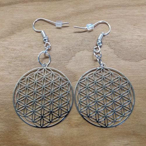 Flower of Life Earrings - Silver Plated