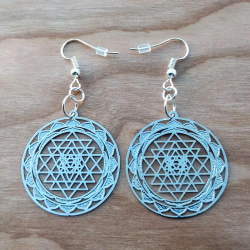 Sri Yantra Mandala Earrings - Silver Plated