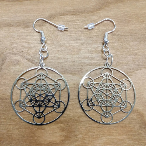 Metatrons Cube Earrings - Silver Plated