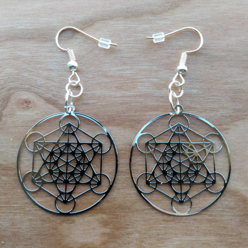 Metatron's Cube Earrings - Silver Plated