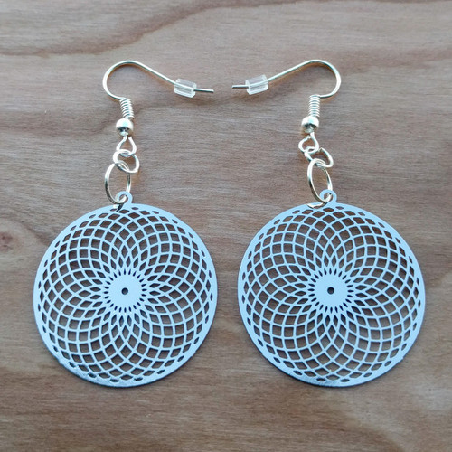 Tube Torus Earrings - Silver Plated