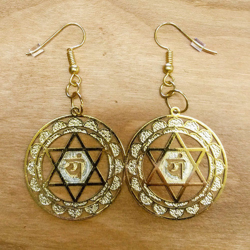 Heart Chakra Mandala Earrings - 18 karat Gold Plated