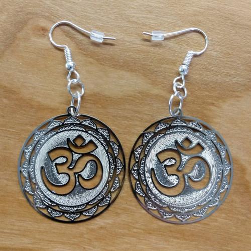 Om Earrings - Silver Plated