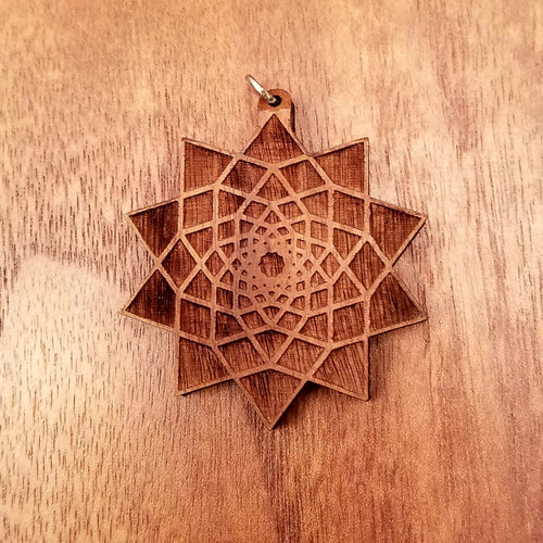 Ten Sided Star Fractal in Walnut wood